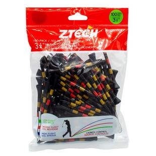 Black 3 1/4 Inch Tees With Gold & Red Stripes (100 Count)