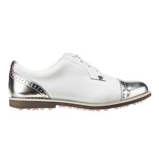 Women's Cap Toe Gallivanter Spikeless Golf Shoe - White/Silver