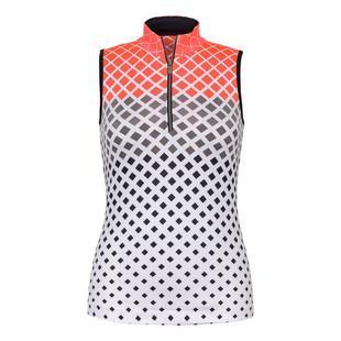 Women's Fannie Diamonte Print Mock Neck Zip Sleeveless Top