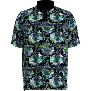 Men's Structured Floral Printed Short Sleeve Polo