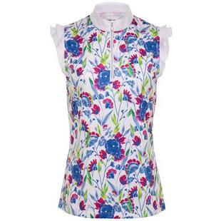 Women's Floral Printed Quarter Zip Sleeveless Top