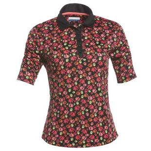 Women's Floral Printed Puff Short Sleeve Polo
