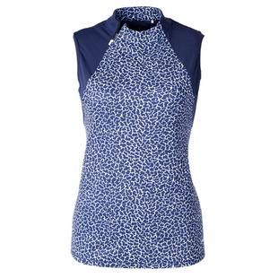 Women's Create Print Sleeveless Zip Top