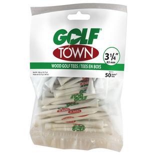 Tés en bois de 3,25 po avec logo Golf Town (Paquet de 50)