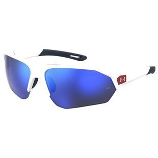 Playmaker Matte White/Baseball Tuned Blue Mirror Sunglasses