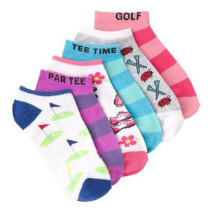 Women's Golf Rugby Striped Low Cut Sock-6 Pack