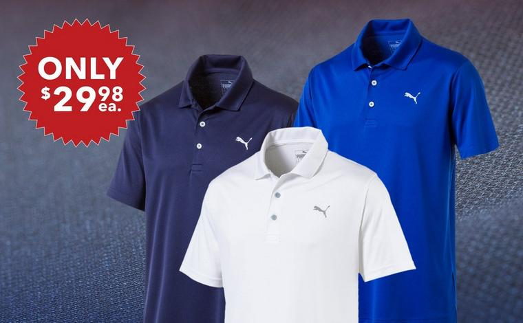 Puma Men's Rotation Solid Short Sleeve Polo - Only $29.98