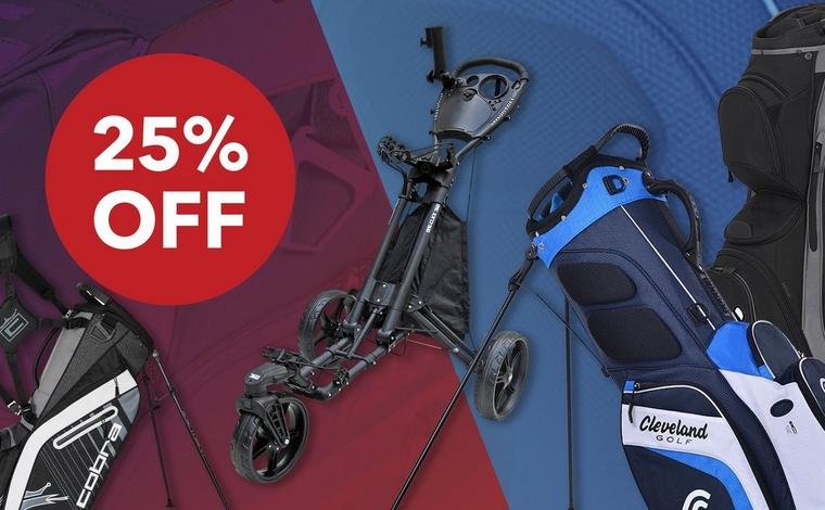 25% OFF GOLF BAGS & PUSH CARTS!