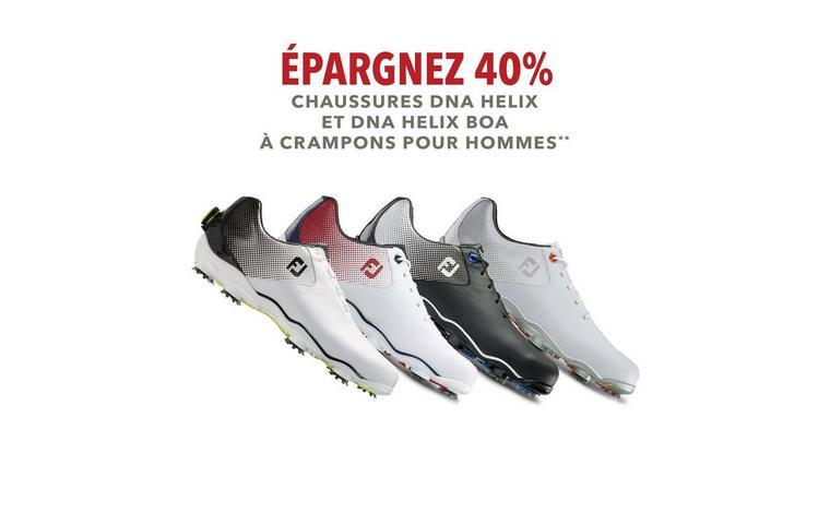 Épargnez 40% - Chaussures FootJoy DNA Helix à crampons pour hommes