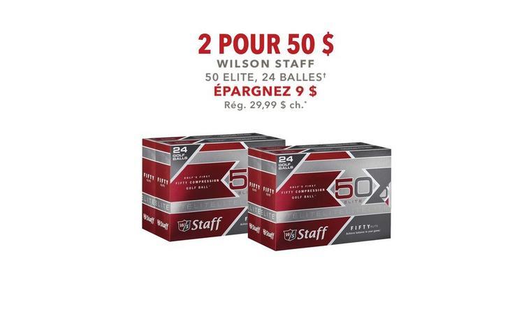 2 pour 50 $ - Wilson Staff 50 Elite, 24 balles