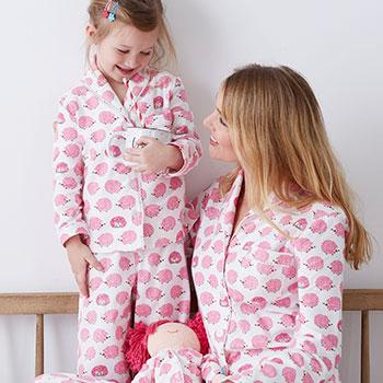 Mother, Daughter, and Doll Flannel Pajamas - Hedgehog