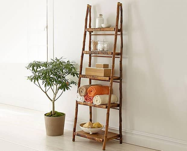 Rattan Bamboo Folding Ladder Shelf