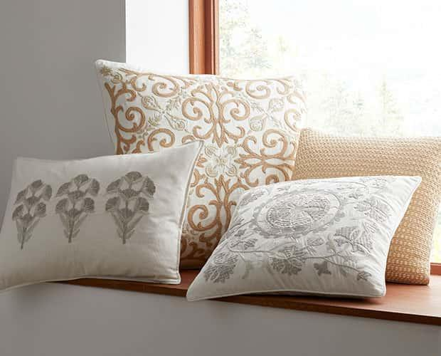 Gold Embroidered Pillow Covers