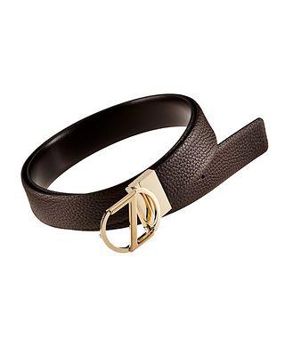 Ermenegildo Zegna Logo Pebbled Leather Belt