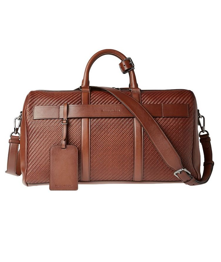 Woven Leather Weekender Bag image 0