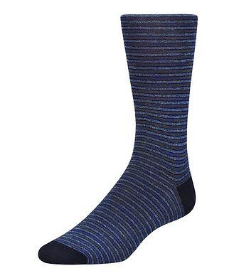 Bugatchi Striped Mercerized Cotton Socks