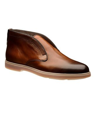 Santoni Leather Slip-On Boots