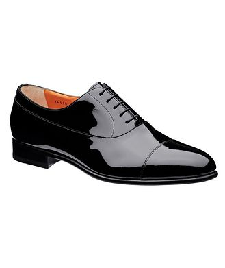 Santoni Cap-Toe Patent Leather Oxfords