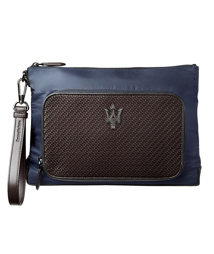 Pochette en nylon et cuir, collection Maserati image 0