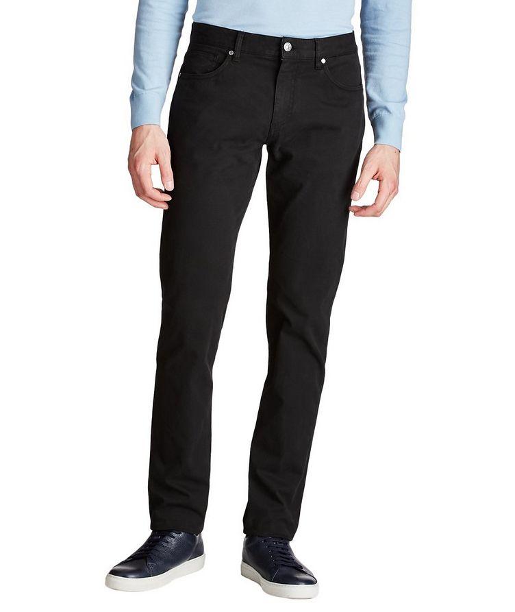 Pantalon en coton extensible de coupe droite image 0
