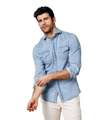 Brunello Cucinelli Contemporary Fit Western Shirt