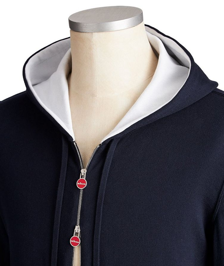 Zip-Up Knit Cotton Hoodie image 1