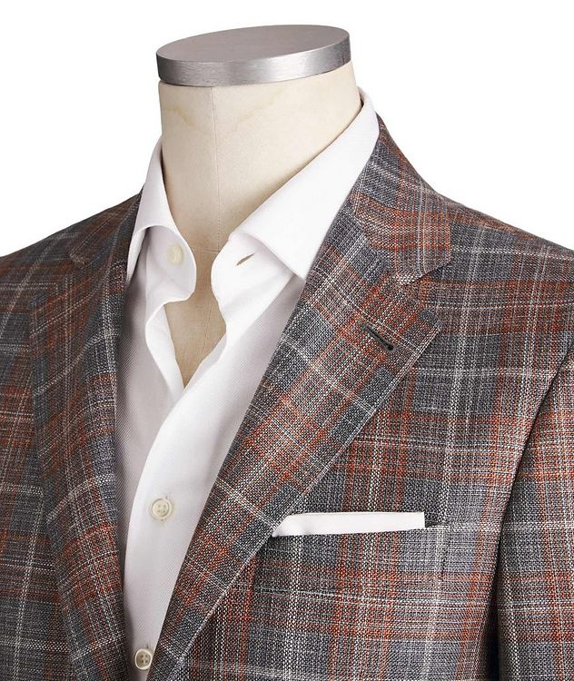 Kei Checked Wool, Silk & Linen Sports Jacket picture 2