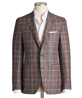Canali Kei Checked Wool, Silk & Linen Sports Jacket