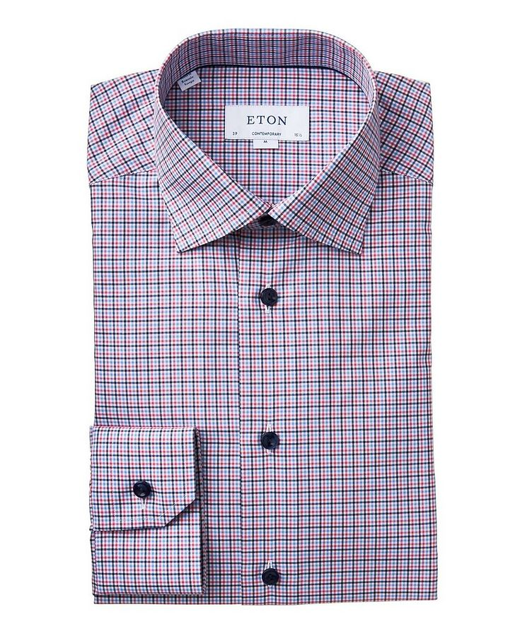 Contemporary Fit Checked Cotton Dress Shirt image 0