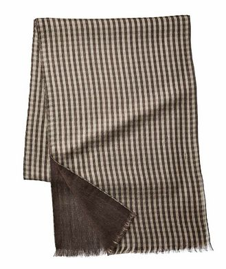 Loro Piana Gingham-Printed Cashmere & Silk Scarf