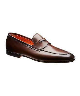 Santoni Carlos Leather Penny Loafers