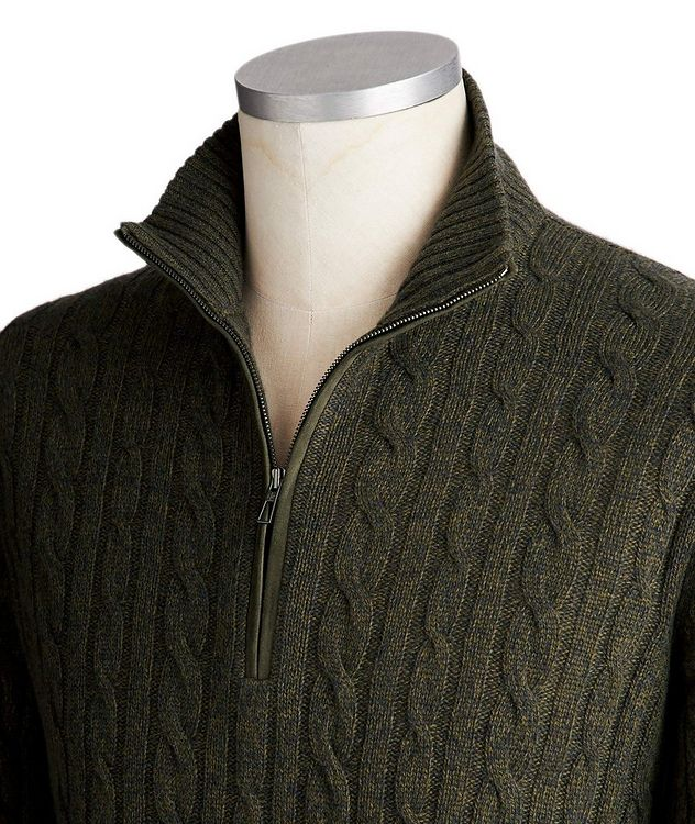 Half-Zip Baby Cashmere Cable Knit Sweater picture 2