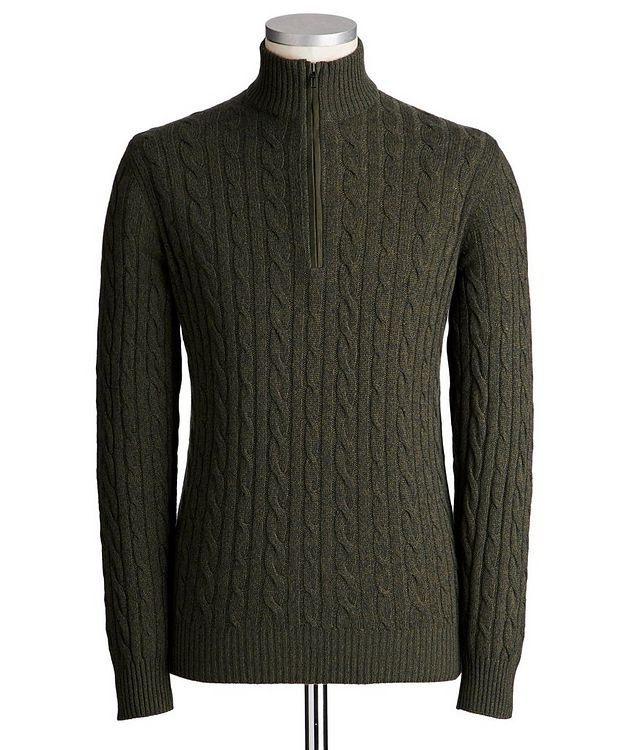 Half-Zip Baby Cashmere Cable Knit Sweater picture 1