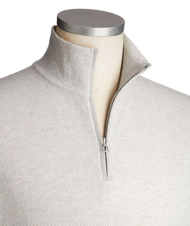 Half-Zip Diagonally Striped Cashmere Sweater image 1