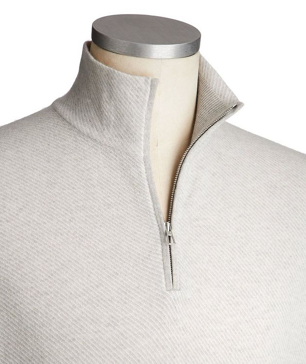 Half-Zip Diagonally Striped Cashmere Sweater picture 2