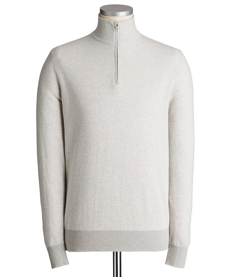 Half-Zip Diagonally Striped Cashmere Sweater image 0