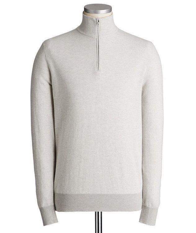 Half-Zip Diagonally Striped Cashmere Sweater picture 1