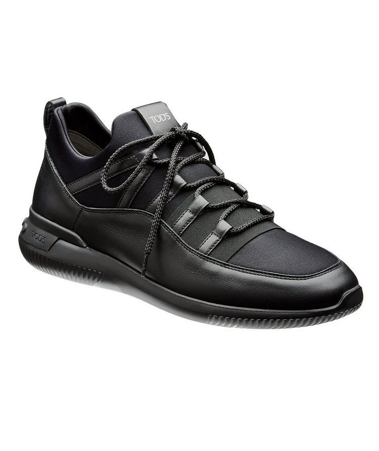 Shoeker No_Code_01 Leather & Neoprene Sock Sneakers image 0