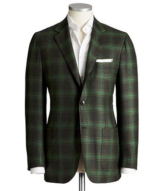 Kiton Contemporary Fit Windowpane-Check Cashmere Sports Jacket