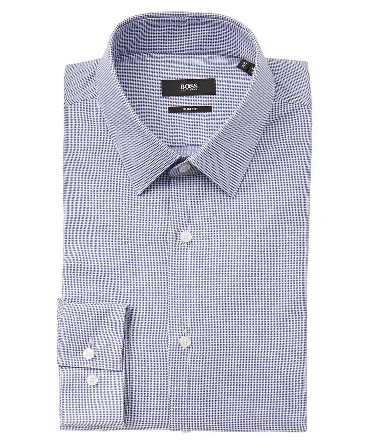 Slim Fit Check-Printed Cotton Dress Shirt image 0
