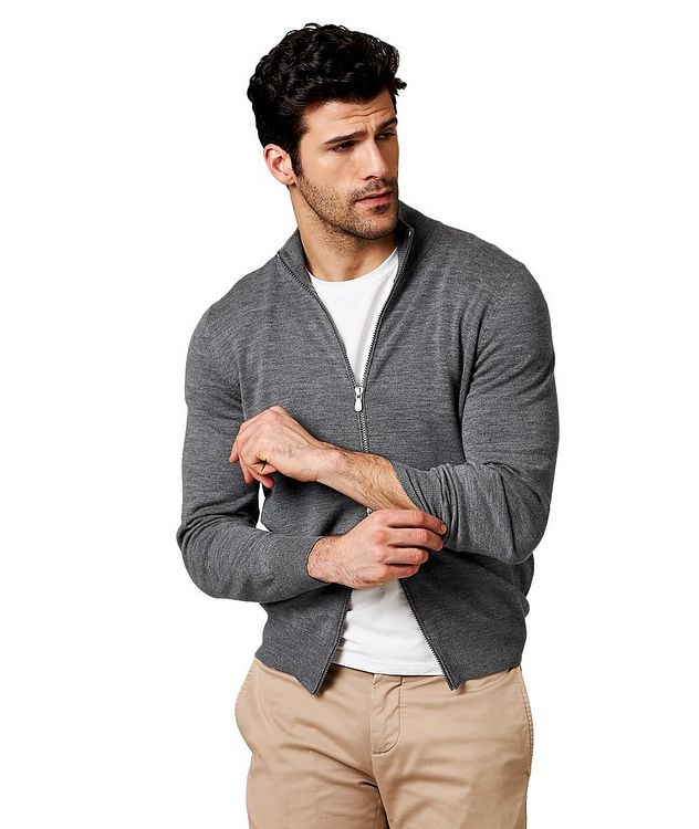 Zip-Up Virgin Wool-Cashmere Cardigan picture 1