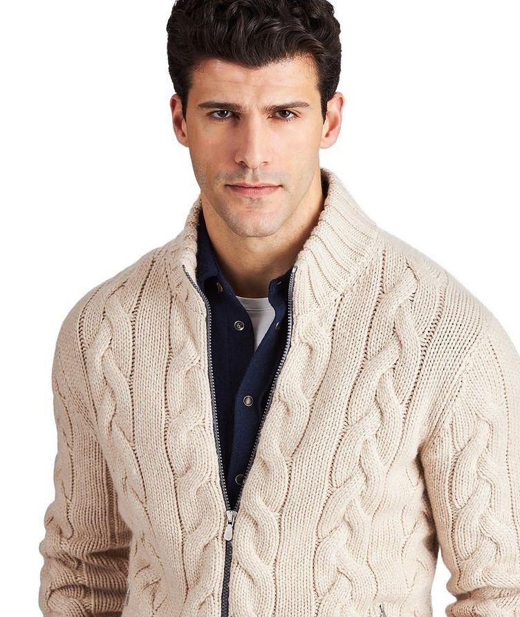 Cardigan en tricot torsadé de cachemire image 1