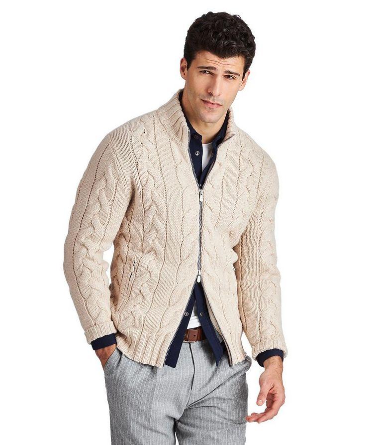 Cardigan en tricot torsadé de cachemire image 0
