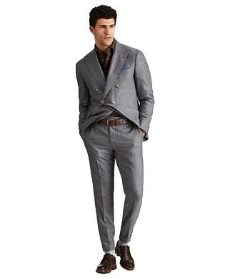 Brunello Cucinelli Double-Breasted Wool, Mohair & Cashmere Suit