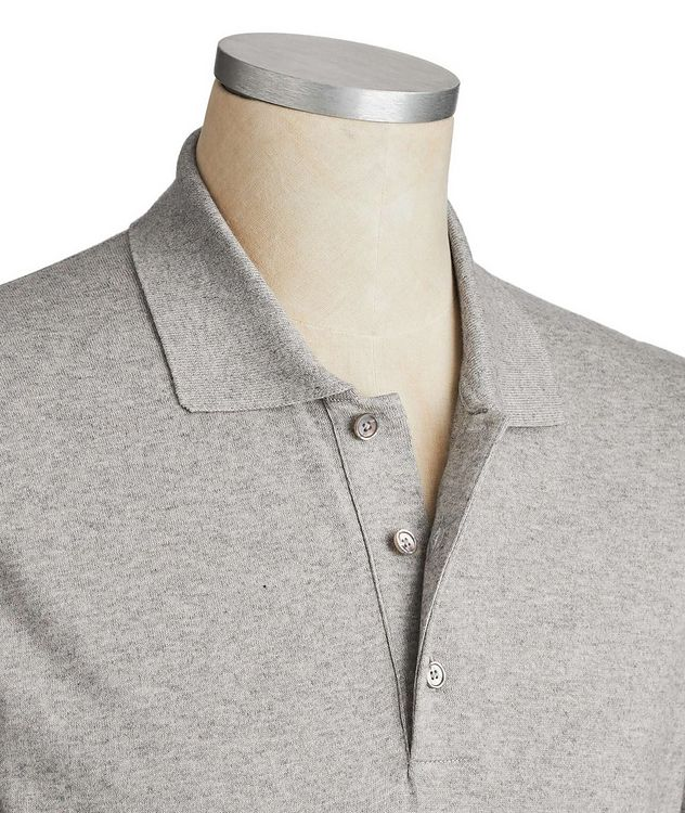 Long-Sleeve Cotton-Cashmere Polo picture 2