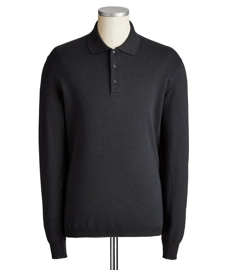 Long-Sleeve Cotton-Cashmere Polo image 0