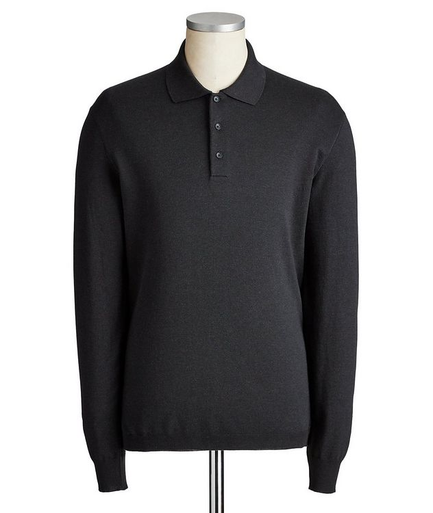 Long-Sleeve Cotton-Cashmere Polo picture 1