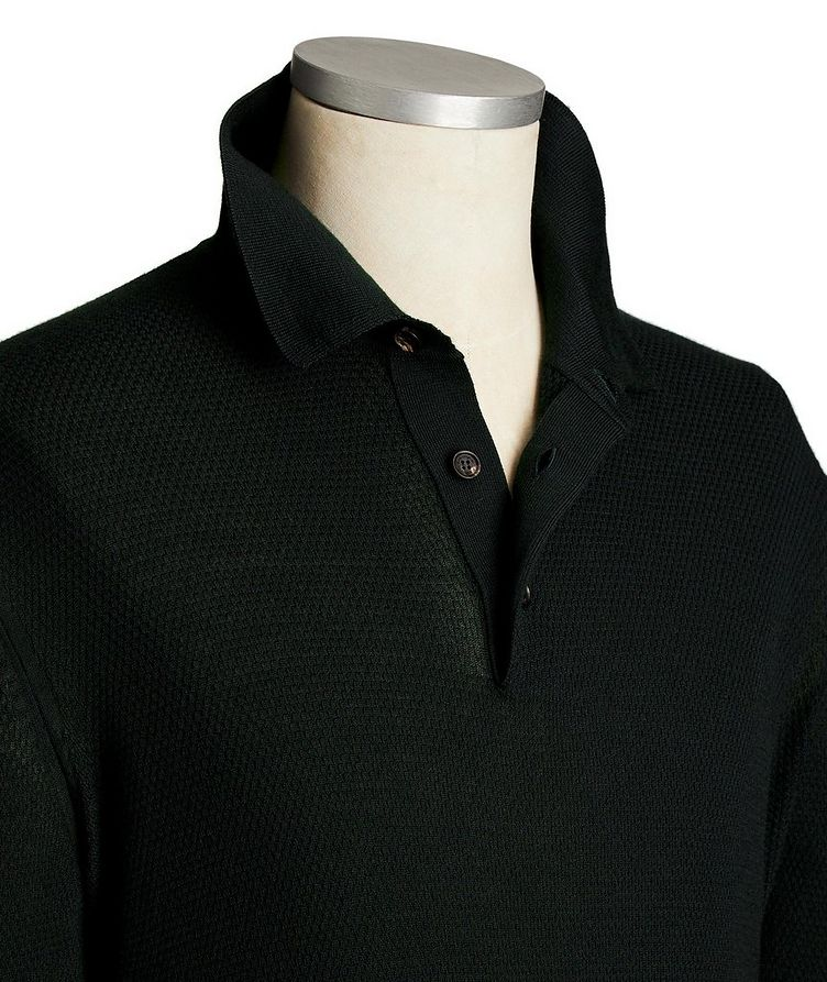 Long-Sleeve Cashmere-Silk Polo image 1