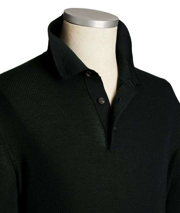 Long-Sleeve Cashmere-Silk Polo picture 2