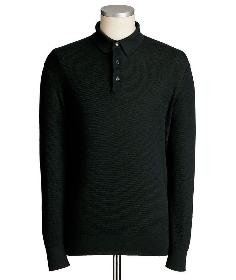Long-Sleeve Cashmere-Silk Polo image 0